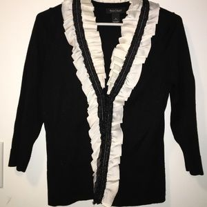 WHBM satin collared black sweater cardigan